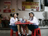 School Girls at Lunch Break, Bangkok, Thailand, Southeast Asia Photographic Print by Angelo Cavalli
