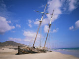 Shipwreck on the Beach, Fuerteventura, Canary Islands, Spain, Atlantic Photographic Print by Robert Harding