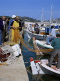 Fishermen Mending Nets, Greece Photographic Print by Tony Gervis