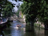 Tourists in Boat on Canal, Bruges, Belgium Photographic Print by Peter Scholey