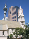 St. Patrick's Roman Catholic Church and Skytower, Auckland, North Island, New Zealand Photographic Print by Ken Gillham