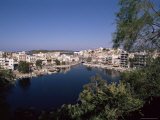Bottomless Lake, or Lake Voulismeni in Foreground, Agios Nikolas, Crete, Greece Photographic Print by Robert Harding