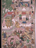 Mughal Miniature Dating from the 18th Century Showing the Construction of a Palace, Pakistan Reproduction photographique par Robert Harding
