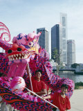 Chinese Dragon Dancers, Singapore National Day, Singapore, Southeast Asia Photographic Print by Alain Evrard