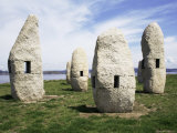 Outdoor Sculpture, Standing Stones Suggest Celtic Heritage, a Coruna, Galicia, Spain Photographic Print by Ken Gillham