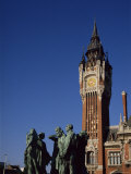 Rodin's Burghers and Town Hall, Calais, Nord-Pas-De-Calais, France Photographic Print by Peter Scholey