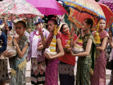Young Women in Costumes, Lao New Year, Luang Prabang, Laos, Indochina, Southeast Asia Photographic Print by Alain Evrard