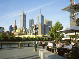 Open Air Cafe, and City Skyline, South Bank Promenade, Melbourne, Victoria, Australia Photographic Print by Peter Scholey