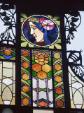 Detail of Art Nouveau Glasswork on the Community House, Prague, Czech Republic Photographic Print by Jonathan Hodson