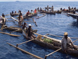 Outrigger Canoeists Visting Cruise Ship, Nosy Be, Madagascar, Indian Ocean, Africa Photographic Print by Ken Gillham