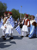 Children in National Dress Carrying Flags, Independence Day Celebrations, Greece Photographic Print by Tony Gervis