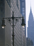 Street Lamps and the Empire State Building, Manhattan, New York City, New York, USA Photographic Print by David Lomax