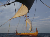 View from Gaia of Replica Viking Ship Oseberg, Chesapeake Bay, USA Photographic Print by David Lomax