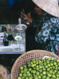 Woman Eating Pho at Food Stall, Cholon Market, Ho Chi Minh City, Indochina Photographic Print by Tim Hall