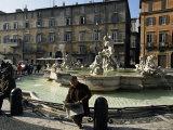 Fountain in the Piazza Navona, Rome, Lazio, Italy Photographic Print by Michael Newton