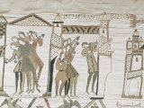 Crowds Point to Halley's Comet, February 1066, Bayeux Tapestry, Normandy, France Photographic Print by Walter Rawlings