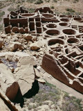 Kivas and Rooms, Pueblo Bonito 1000-1100 AD, Chaco Canyon National Monument Photographic Print by Walter Rawlings