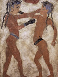 Fresco of Children Boxing from Akrotiri, Island of Santorini, Greece Photographic Print by Gavin Hellier