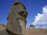 Close-Up of Rano Rarakay, Stone Head Carved from Crater, Moai Stone Statues, Easter Island, Chile Photographic Print by Geoff Renner