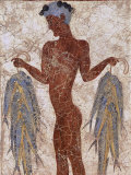 Fresco of a Fisherman from Akrotiri, Island of Santorini, Greece Photographic Print by Gavin Hellier