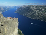 Preikestolen Rock Overlooking Lysefjord, Near Stavanger, South West Fjords, Norway Photographic Print by Gavin Hellier
