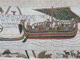 Harold Steers Ship Across Channel, a Scene from the Bayeux Tapestry, Bayeux, Normandy, France Photographic Print by Walter Rawlings