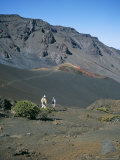 Tourists Hiking Inside Haleakala Crater, Haleakala National Park, Maui, United States of America Photographic Print by Geoff Renner
