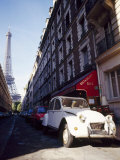 Parked Citroen on Rue De Monttessuy, with the Eiffel Tower Behind, Paris, France Photographic Print by Geoff Renner