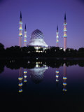 Reflection in Tranquil Water of the Sultan Salahuddin Abdul Aziz Shah Mosque Photographic Print by Gavin Hellier