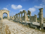 Roman Triumphal Arch and Colonnaded Street, Al Bas Site, Unesco World Heritage Site, Tyre, Lebanon Photographic Print by Gavin Hellier