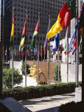 Flags Outside the Rockefeller Center, New York City, New York, USA Photographic Print by Walter Rawlings