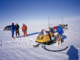 Oversnow Geophysical Team of the British Antarctic Survey, Antarctica, Polar Regions Photographic Print by Geoff Renner