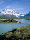 Peaks of Cerro Paine Grande, Lago Pehoe and Hotel Pehoe, Torres Del Paine National Park, Chile Photographic Print by Geoff Renner