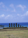Beach with Nau Nau, Easter Island, Pacific Ocean, Chile, South America Photographic Print by Geoff Renner