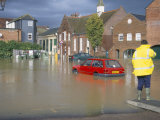 Flooded Car Park in Town Centre in October 2000, Lewes, East Sussex, England, United Kingdom Photographic Print by Jenny Pate