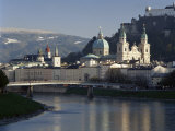 Domes of the Cathedral and Kollegienkirche and the Salzach River, Salzburg, Austria Photographic Print by Gavin Hellier
