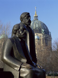 Statues of Marx and Engels, with the Dom (Cathedral), Behind, Berlin, Germany Photographic Print by Gavin Hellier