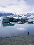 A Glacial Lagoon with Icebergs Carved from Varnajokull Glacier, Jokulsarlon, South East, Iceland Photographic Print by Geoff Renner