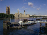 Lambeth Pier, River Thames and Houses of Parliament, London, England, United Kingdom Photographic Print by Walter Rawlings