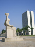 Palacio Do Congresso from the Palace of Justice, Brasilia, Unesco World Heritage Site, Brazil Photographic Print by Geoff Renner
