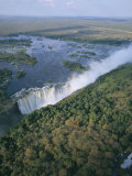 Aerial View of the Victoria Falls, Unesco World Heritage Site, Zimbabwe, Africa Fotografisk tryk af Geoff Renner