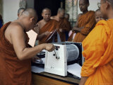 Buddhist Monks Using Stencil Machine, Lampoon, Thailand, Southeast Asia Photographic Print by Sybil Sassoon