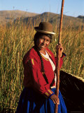 Uros Indian Woman in Traditional Reed Boat, Islas Flotantes, Lake Titicaca, Peru, South America Photographic Print by Gavin Hellier