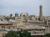 View of Kalyan Minaret and Mir-I-Arab Madrasa, Bukhara, Uzbekistan, Central Asia Photographic Print by Gavin Hellier