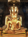Seated Buddha Images, Wat Bovornives (Bowonniwet), Bangkok, Thailand, Southeast Asia Photographic Print by Gavin Hellier