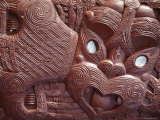 Maori Carving on Ohinemutu Marae Meeting House, Rotorua, South Auckland, North Island, New Zealand Photographic Print by Adrian Neville