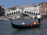 Gondola on the Grand Canal Near the Rialto Bridge, Venice, Veneto, Italy Photographic Print by Gavin Hellier