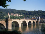 The Old Bridge Over the River Neckar, with the Castle in the Distance, Heidelberg, Germany Photographic Print by Geoff Renner