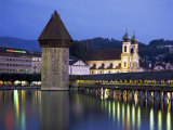 Kapellbrucke (Covered Wooden Bridge) Over the River Reuss, Lucerne (Luzern), Switzerland Photographie par Gavin Hellier