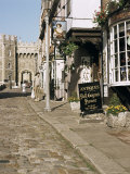 Cobbled Street with View of Castle, Windsor, Berkshire, England, United Kingdom Photographic Print by G Richardson